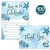 All Occasion Invitations & Matched Thank You Notes ( 100 of Each ) Set with Envelopes Beach Theme Large Party Celebration Birthday Grad Retired Fill-in Invites & Folded Thank You Cards Best Value Pair