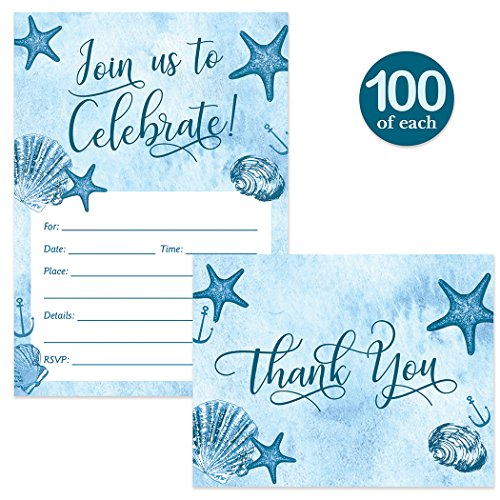 All Occasion Invitations & Matched Thank You Notes ( 100 of Each ) Set with Envelopes Beach Theme Large Party Celebration Birthday Grad Retired Fill-in Invites & Folded Thank You Cards Best Value Pair by Digibuddha