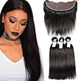 8a Brazilian Unprocessed Virgin Straight Hair With Closure 3 Bundles With Frontal Closure Unprocessed Human Hair Extensions Natural Color 14 16 18 with 12 Inch Closure