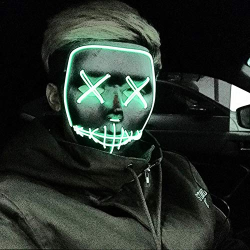 Rundaotong-US Halloween Scary Mask Cosplay Led Costume Mask El Wire Light up Death Skull Mask for Festival Party Halloween Costumes -
