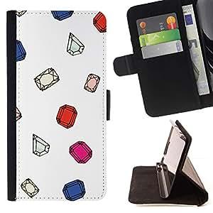Momo Phone Case / Flip Funda de Cuero Case Cover - Diamant Ruby Blanc - HTC One M8