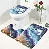 TechCode Non Slip Absorbent Bathroom Rug Solt U-Shaped Toilet Mat Toilet Lid Cover