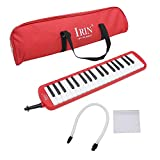 Mowind 37 Piano Keys Melodica Musical Instrument for Music Lovers Beginners Gift with Carrying Bag (Red)