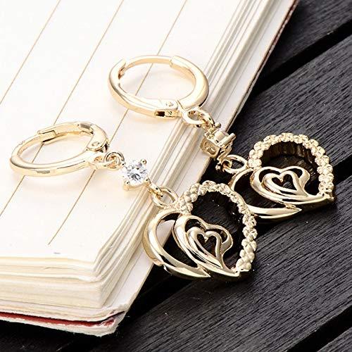 Stud Earrings - 1 Pair Hot popular Ear Earrings Zircon Crystal Charm Gold Color Dangle Earrings for Women Girls Jewelry Gift - Earrings For -