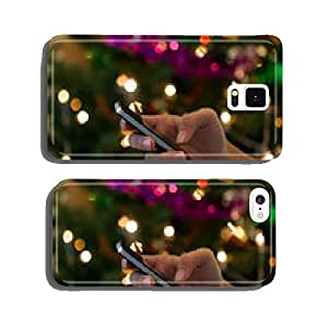 hand using mobile smart phone with colorful light celebration ba cell phone cover case Samsung S6