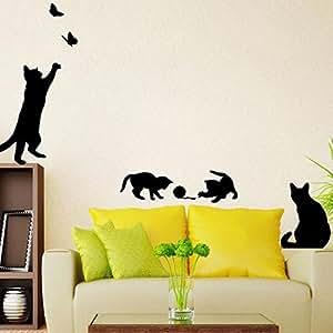 iTemer Vinilos decorativos pared dormitorio Stickers Pegatinas pared decorativas Decoracion pared Un hermoso regalo PVC Gatos