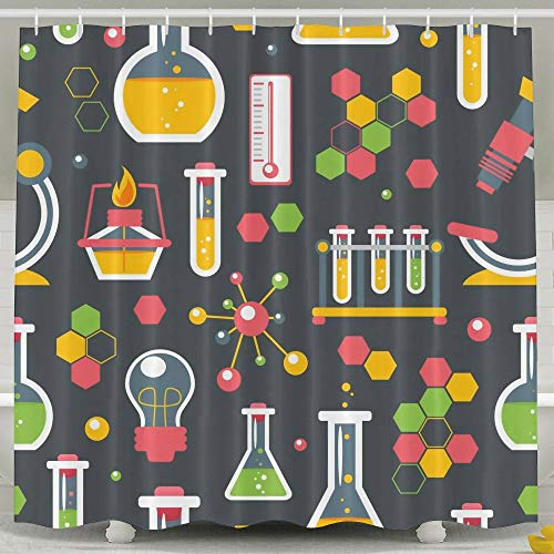 Water-Repellent Shower Curtain Chemistry Glass Equipment Shower Curtain 100% Polyester Fabric 65