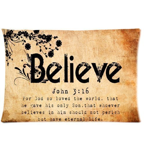 Christian Bible Verse John 3:16 Believe Custom Pillowcase Bedroom Design Two Sides Throw Pillow Case Cover 20×30 Inchs Sexy Star Series Pillowcases Poster 17