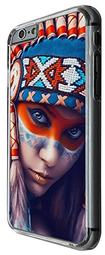 1549 - Cool Fun Trendy red indian colourful headrest sexy girl Design iphone 6 Plus / iphone 6 Plus S 5.5'' Coque Fashion Trend Case Coque Protection Cover plastique et métal - Clear