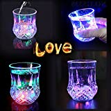 [Four Sets] Water Activated LED Light Cup, Automatic Flash Wave By Pouring Liquid In, With Blinking Octagonal Marble Texture. Beer Whisky Shot Glass Mug, Bar Club Night Party Drink Ware - 7 oz