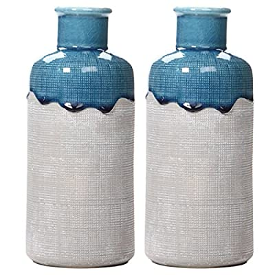 "Hosley Set of 2 Large Ceramic Floral Vases 9 Inch High. Great for Wedding Nautical Organic Party Votive Candle Gardens O8 - PRODUCT: Hosley's 9"" High Ceramic Vases USES: Designed to be used as a decor accent, they work great with artificial flowers.If using with fresh flowers, a water tight liner must be used. BENEFITS: These vases are great for adding a decorative accent to your room's decor. They also make great gifts for a wedding, house warming and can be used for party, reiki, and spa. - vases, kitchen-dining-room-decor, kitchen-dining-room - 51GOkRPAXGL. SS400  -"