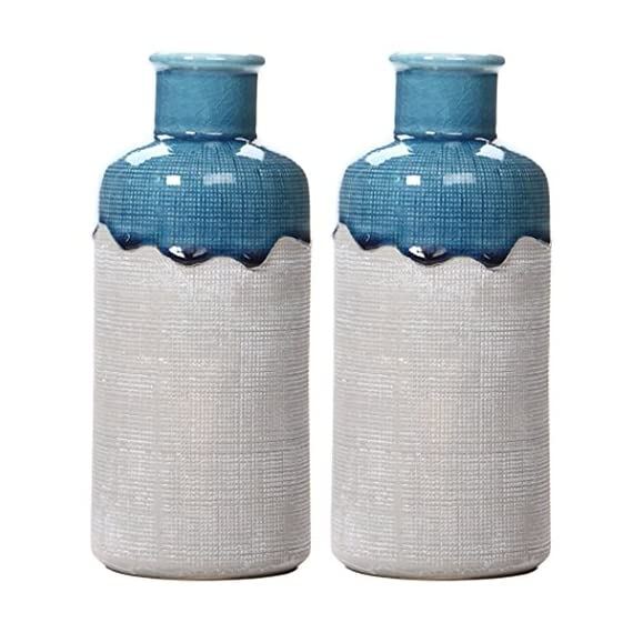"Hosley Set of 2 Large Ceramic Floral Vases 9 Inch High. Great for Wedding Nautical Organic Party Votive Candle Gardens O8 - PRODUCT: Hosley's 9"" High Ceramic Vases USES: Designed to be used as a decor accent, they work great with artificial flowers.If using with fresh flowers, a water tight liner must be used. BENEFITS: These vases are great for adding a decorative accent to your room's decor. They also make great gifts for a wedding, house warming and can be used for party, reiki, and spa. - vases, kitchen-dining-room-decor, kitchen-dining-room - 51GOkRPAXGL. SS570  -"
