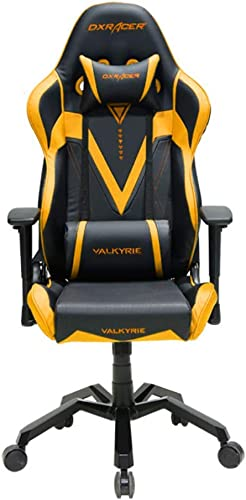 DXRacer OH VB03 NA Black Gold Valkyrie Series Gaming Chair Ergonomic High Backrest Office Computer Chair Esports Chair Swivel Tilt and Recline with Headrest and Lumbar Cushion Warranty