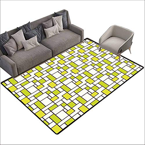 (Slip-Resistant Washable Entrance Doormat Geometric,Grid Design Squares Rectangles Abstract Shapes Pattern,Chestnut Brown Apple Green Cream 60