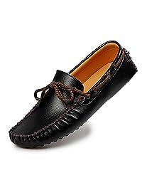 82e1cf4a520 HUAN Zapatos de Hombre de Cuero Summer Fall Comfort Mocasines y Slip-Ons Zapatos  de