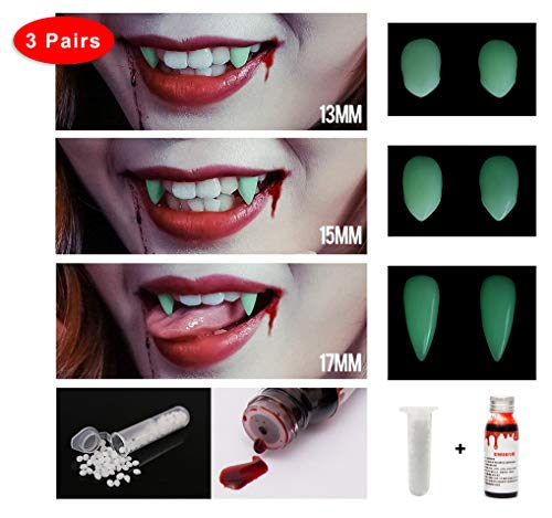 Eternity J. 3 Pairs Vampire Fangs Teeths Dentures Halloween Party Cosplay Prop Decoration Dress Up Costume Accessory Party Favors Set with Adhesive Pellets Vampire Blood 1 Oz -