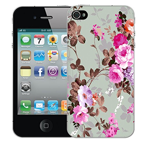 Mobile Case Mate iPhone 5s Silicone Coque couverture case cover Pare-chocs + STYLET - Pink Rose pattern (SILICON)