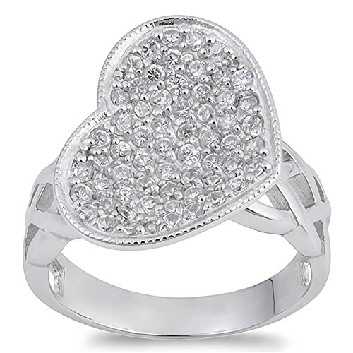 White CZ Beautiful Micro Pave Heart Promise Ring Sterling Silver Band Size 7 (Micro Pave Heart)