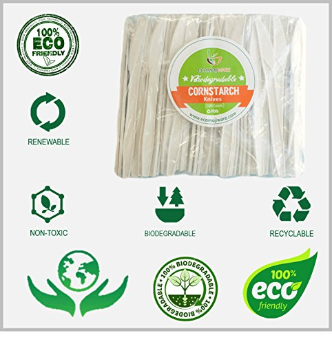 Knives - by EcoMojiWare.com - Certified Compostable Biodegradable Cutlery (100 count), made from Corn (Pony Knife)