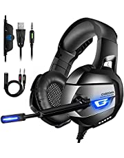 ONIKUMA Casque Gaming Xbox One PS4 Casque PC Super-Légère, Stéréo Surround 4D, Lumière LED, Forte Basse, Anti-Bruit, 3.5mm Connecteur Pour Nintendo Switch,Laptop, Tablette[Version Améliorée]