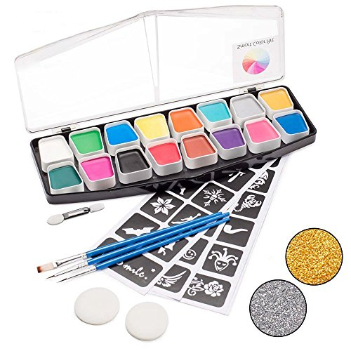 Face Paint Kit,16 Colors Set with 2 Glitters 40 Stencils 2 Sponges 3 Brushes by Smart Color Art, Non-Toxic Professional Face Body Paint Easy to Apply & Remove,Perfect for Kids Adults Face Painting
