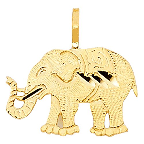 14k Yellow Gold Elephant Pendant