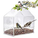 Window Bird Feeder – Transparent Suction Cup Feeding Station – Sliding Seed Tray