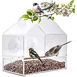BAVISION Window Bird Feeder Transparent Suction Cup Feeding Station – Squirrel Resistant – Sliding Seed Tray