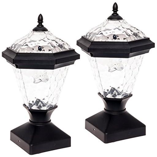 2 Pack GreenLighting 8 Lumen Adonia Solar Post Cap Light for 4 x 4 Wood Posts (Black)