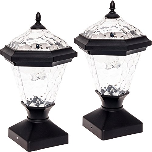 GreenLighting 2 Pack Adonia Solar Post Cap Light for 4 x 4 Wood Posts (Black)