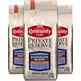 Community Coffee Evangeline Blend Medium Dark Roast Gourmet Private Reserve Whole Bean 12 Oz Bag (3 Pack), Full Body Semisweet Taste, 100% Specialty Grade Arabica Coffee Beans