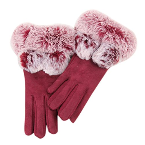 Price comparison product image Cywulin Women Fashion Warm Autumn-winter Gloves ,Velvet Screen Riding Drove Gloves with Double Ball Protection for Outdoor Sport Activities (Red)