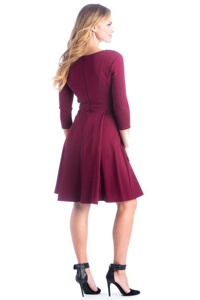 Lilac McCall Fit And Flare Maternity Dress - Marsala(Red) - Medium by Lilac (Image #2)