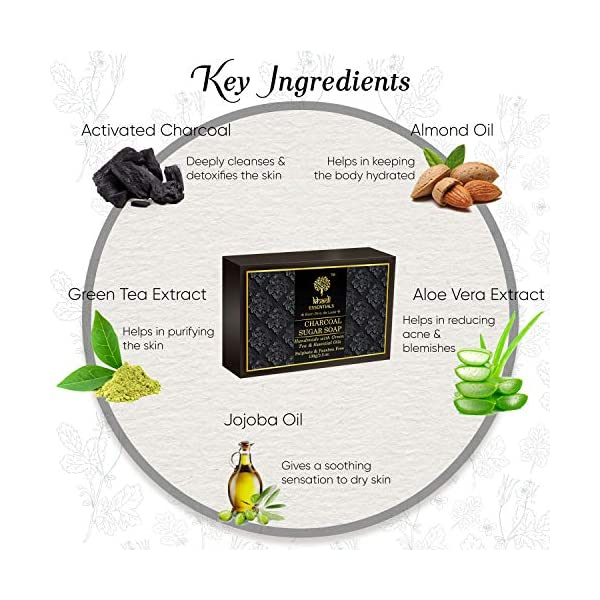 Khadi Essentials Luxurious Ayurvedic Activated Charcoal Sugar Soap with Green Tea Extracts For Deep Cleanse and De-Tan… 2021 July ULTRA CLEANSE WITH ACTIVATED BAMBOO CHARCOAL: Owing to Charcoal's porous nature, it extracts dirt, toxins & impurities away from skin layers rendering it ultra clean & smooth. HELPS REDUCE ACNE & BLEMISHES: Deeply cleanses, exfoliates and absorbs excess oil and unclogs pores, thereby reducing acne and build ups. An effective herbal solution for skin blemishes too. GENTLE EXFOLIATION WITH CANE SUGAR: It's is a natural humectant that attracts and helps retain moisture in the skin. It gently exfoliates the skin, removes dead skin cells, making it really smooth, brightens and firms open pores. Fights blackheads & whiteheads.