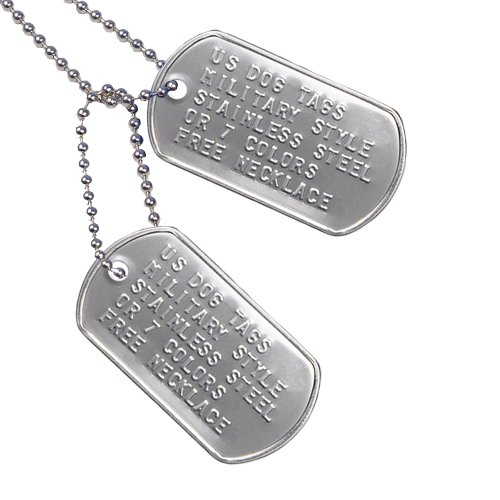 Amazon.com   Custom US Military Dog Tags - Includes Two Personalized ID Tags  Complete with Steel Chains and Silencers. 8 Color Options Available   Stainless ... f26df857d88
