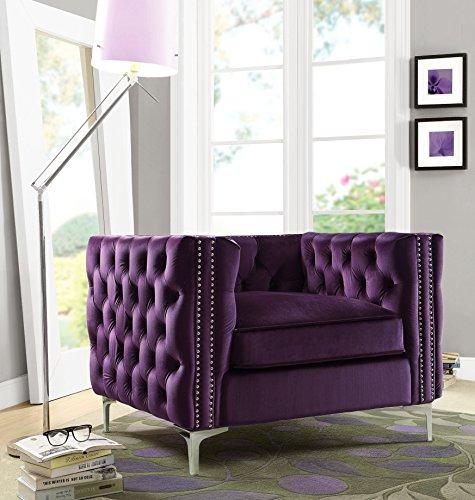 Iconic Home Da Vinci Velvet Modern Contemporary Button Tufted with Silver Nailhead Trim Silvertone Metal Y-Leg Club Chair, Purple