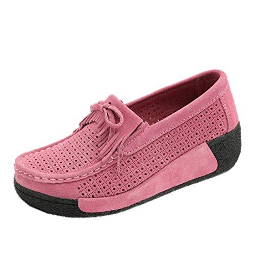 Donna In Z Loafers Guida Pelle suo Mocassini Comode Da Scarpe Rosa Scamosciata Moda Tqx4w1g