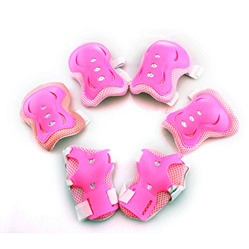 [해외]Fashionwu 아동 보호 대 무릎팔꿈치손목 스포츠 보호 대 보호 패드 6 점 세트 / Fashionwu Kids Protector KneeElbowWrist Sports Protector Protective Pad Set of 6