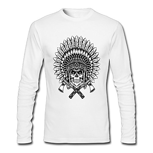 Native American Chief Men Long Sleeve Crew-neck T-Shirt White Small (Indian Chief Headdress For Sale)