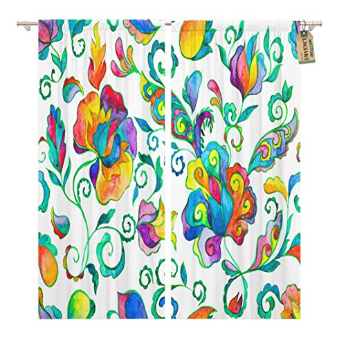 Batik Panel - Golee Window Curtain Watercolor Hand Paisley Pattern Whimsical Flowers Leaves Brunches Oriental Home Decor Rod Pocket Drapes 2 Panels Curtain 104 x 63 inches