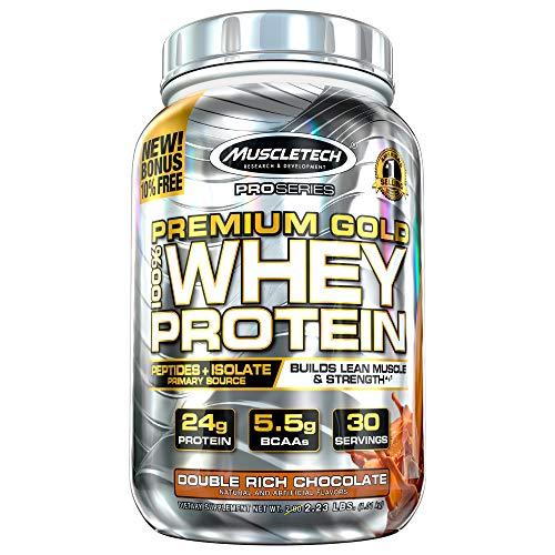 Whey Protein Powder | MuscleTech Premium Gold 100% Whey Protein Powder | Whey Protein Isolate & Peptides | Whey Isolate Protein Powder for Muscle Gain | Chocolate Protein Powder, 2.2 lbs (30 Servings)