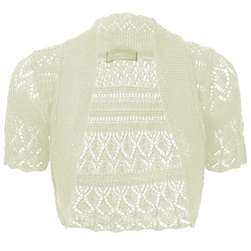 Thever Women Short Sleeve Knitted Crochet Shrug Bolero Cardigan Ladies Crop Top (2XL(20-22), Cream)