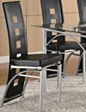 Dining Chair in Silver Metal Black Leather Like (Set of 2)