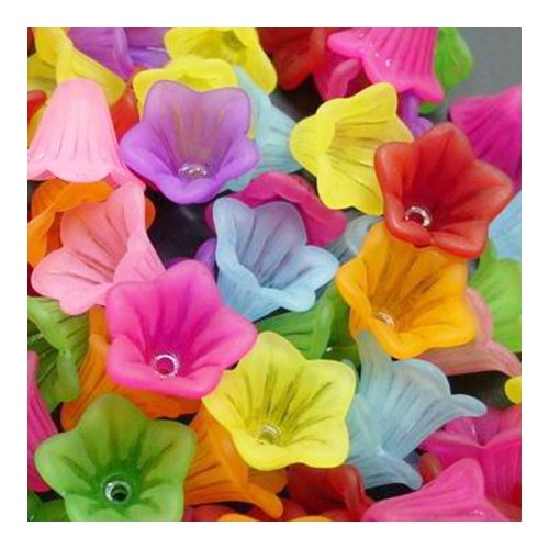 Packet 70+ Mixed Lucite 10 x 15mm Flower Beads HA25945 (Charming Beads)