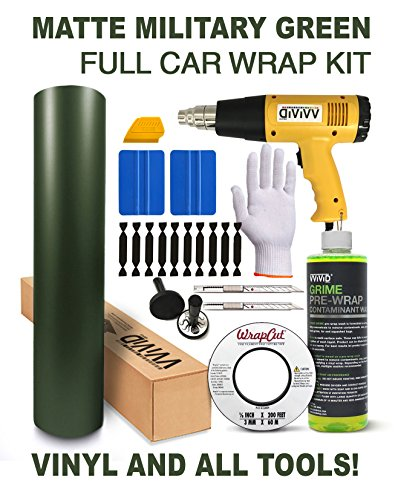 VViViD Complete Matte Vinyl Car Wrap Kit Including All Tools (Full Sedan Wrap Kit (50ft), Military Green)
