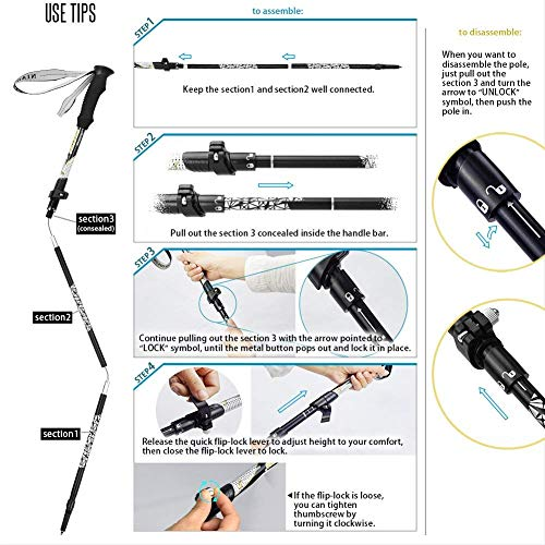 NIANYISO Hiking Poles Collapsible Lightweight for Height 5'3-6'3, 2 Pack Adjustable Trekking Poles Aluminum Hiking Walking Sticks Walking Poles with EVA Soft Foam Handles for Man Women