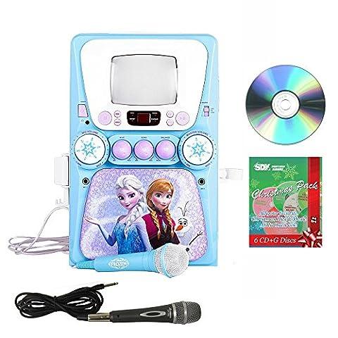 Sakar Frozen CD/CDG Karaoke Machine with Christmas Pack & 2 Mics Bundle - 5 Disc Karaoke Player
