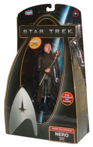 Star Trek Movie Series Warp Collection 6 Inch Tall Fully Articulated and Poseable Action Figure - NERO with Teral'n Staff Plus Bonus Black Figure Stand