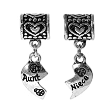 "Set of 2 Pcs "" Heart w/ Aunt & Niece "" Dangle Charms Bead for Snake Chain Charm Bracelet"