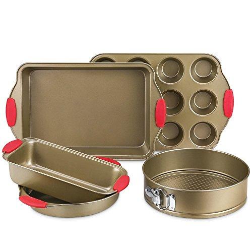 Bakeware Set, Kitchen Komforts 5-Piece Non-Stick Baking Pan Set with Silicone Handle Grips, Carbon (Carbon Steel Non Stick Muffin Pan)